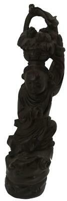 Chinese Hand Carved Solid Wood Figure of an Oriental Child with Basket - 30cm