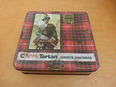 Collectable Tartan Metal Biscuit Tin With Shoe Cleaning Products