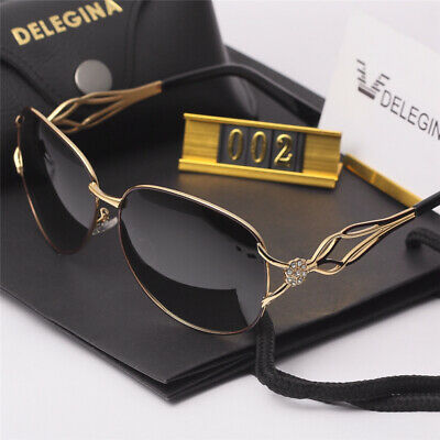 Woman Brand Retro Vintage Designer Polarized Sunglasses with Leather case