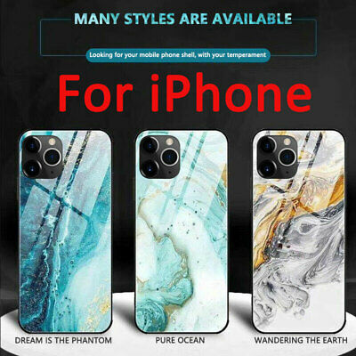 Luxury Marble Tempered Glass Case Cover For iPhone 11 Pro Max XR XS10 8 7 6sPlus
