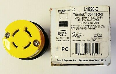 Pass & Seymour L1820-C TurnLok Yellow 20A 3PH 120/208V Connector. NEW