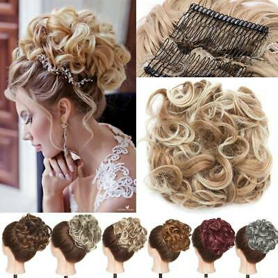 Large Thick Messy Bun Hair Scrunchie Updo Real Curly Hair Extensions Blonde Mix