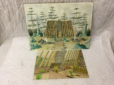 2 Antique Frank Lloyd Wright Modernism House Watercolor Paintings Artist Signed