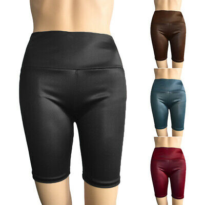 Damen Hohe Taille Kunstleder Shorts Damen Lack-Optik Yoga Sport Hotpants