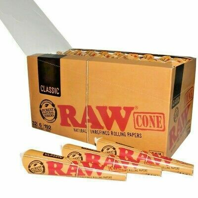 2~64 Packs of 6 Ea Classic RAW Rolling Paper Cones Natural Pre-Rolled 1 1/4