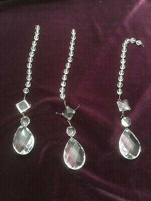 3 Vtg Clear Crystal Glass Chandelier Prisms Pendant Drops with Chain Beads
