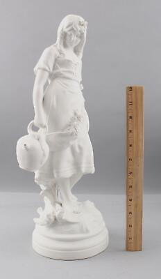 19thC Antique French Auguste Moreau Bisque Sculpture Young Barefoot Maiden