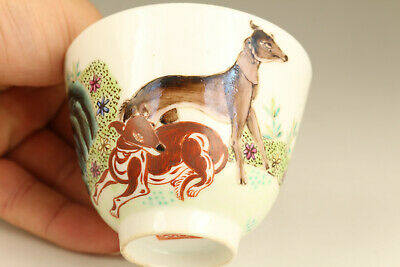 chinese old porcelain Hand painted dog statue tea cup bowl home decoration