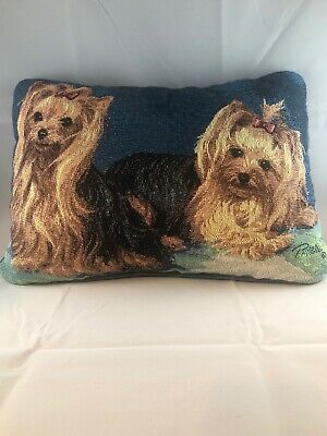 Linda Pickens tapestry Pillow With Yorkies