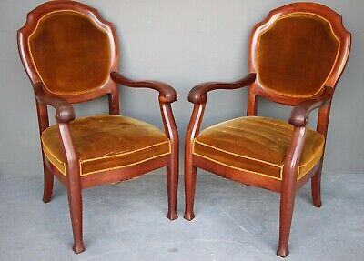 pair French Art Deco carved mahogany armchairs antique originals large size