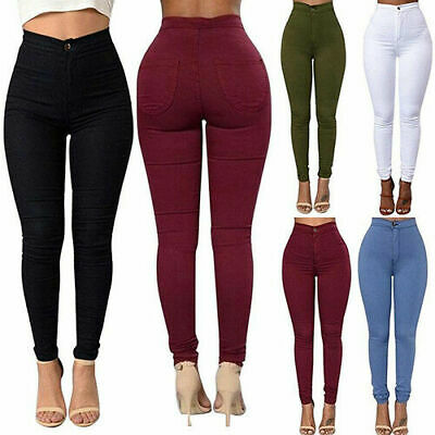 Women Stretch Pencil Pants High Waist Skinny Jeggings Jeans Casual Slim Trousers
