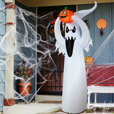 Ghost with Pumpkin Halloween Inflatable White black orange 6ft Waterproof blower