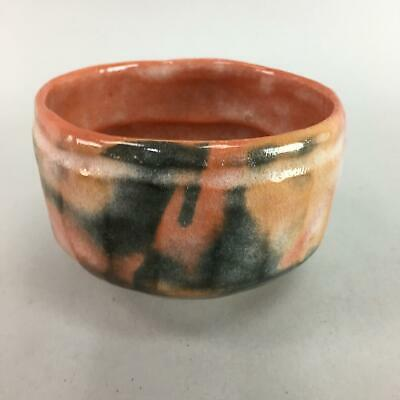 Japanese Tea Ceremony Bowl Aka Raku Ceramic Matcha Chawan Vtg Pottery GTB530