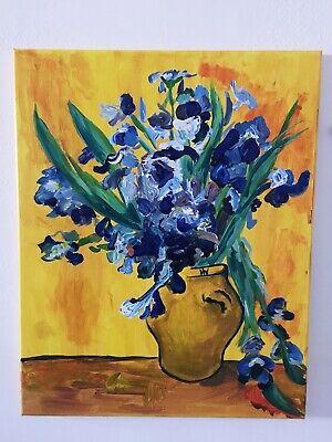 oil painting Fake Vincent Van Gogh Irises Impressionism Yellow/blue/Vase