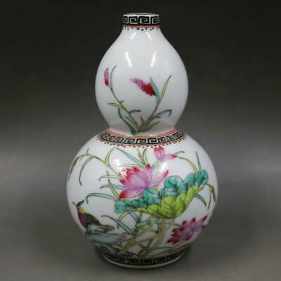 Chinese ancient antique hand make Flower and bird  gourd  vase a558