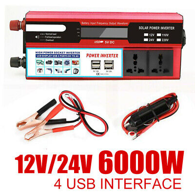 Solar 6000W Power Inverter DC 12V / 24V to AC 220V Modified Sine Converter