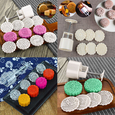 Flower Stamps Barrel Moon Cake Mould Hand Pressure Pastry Set Baking Tool Decor