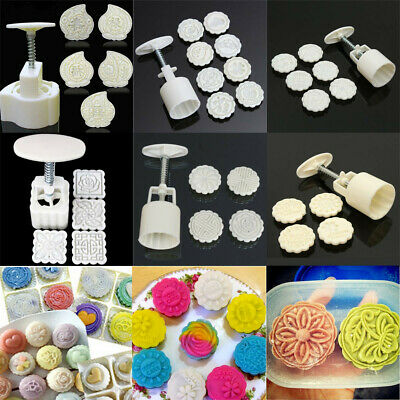Mooncake DIY Flower Stamps Moon Cake Mould Pastry Decoration Baking Tool Set