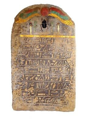 Egyptian Antique Colored Stela Stelae Book Of Dead Underworld Holy Sacred Heaven