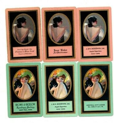 """6 x RARE VINTAGE """"Art Deco Type Lovely Ladies Advertising"""" SINGLE Playing Cards"""