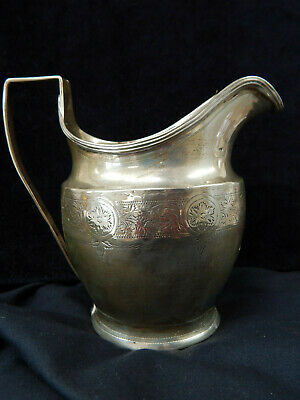 Antique Solid Silver Milk Cream Jug Helmet Style with Gold Cartouche 113g