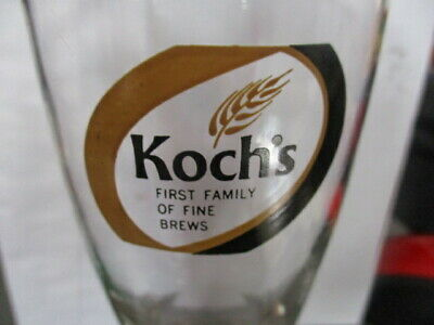 Vintage 70's KOCH'S BEER Logo 10 Oz Shell Glass Upstate New York Dunkirk Brewery