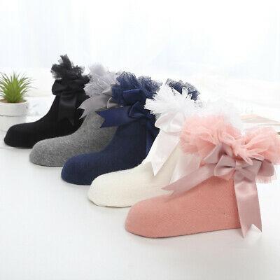 Infant Ankle Frilly Kids Lace Baby Trim Sock Bowknot Girls Ruffle Princess Socks