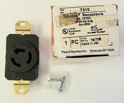 Turnlok 7310 Receptacle 20A 125/250V 3P  3W.  NEW.  Pass & Seymour.