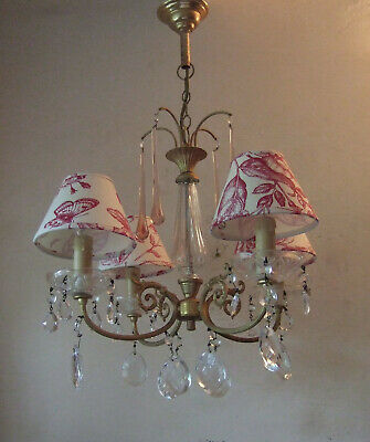 Antique  French Gilt Bronze With Pink & Crystal Drops Four Branch Chandelier
