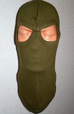 Usa Made Olive Green Od Cotton Ski Hood Full Face Winter Mask Soldier Hunting Os