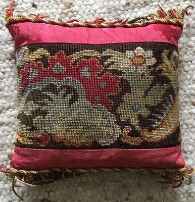 Old VINTAGE French Antique Needlepoint FLORAL Tapestry CUSHION Fringe