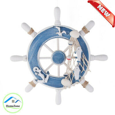 New Wooden Ship Steering Wheel With Fishing Net Anchor Wall Hanging Decoration