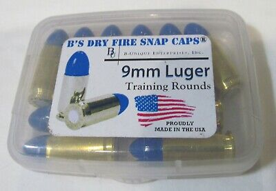 New 10-Pack B's Dry Fire Training Rounds/ Snap Caps Dummy 9Mm Luger Blue & Brass
