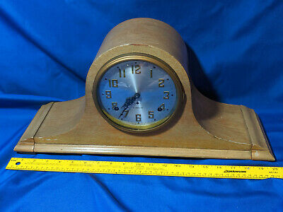Plymouth Clock Co 8 Day Blonde Wood Antique-VTG Mantle Seth Thomas LARGE 20""