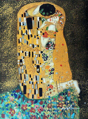 The Kiss Couple In Love Portrait Gustav Klimt Repro 12X16 Oil Painting Stretched