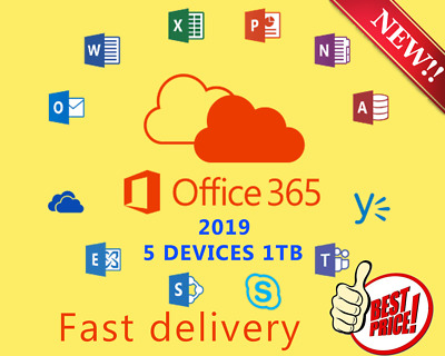 🔥🔥INSTANT Microsoft Office 365 LIFETIME account License 5 Devices 1TB mac mob