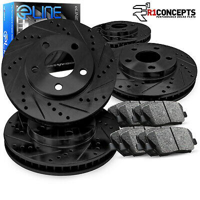 Ceramic Pads C1653 FRONT+REAR KIT Black Hart *DRILLED /& SLOTTED* Brake Rotors