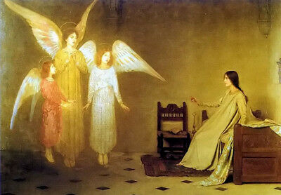 Oil painting thomas cooper gotch - the awakening young girl with angels canvas