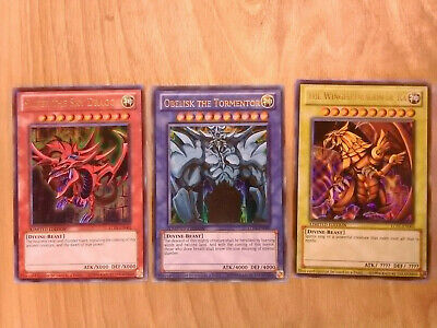 Yu-Gi-Oh! All 3 Egyptian God Cards - LC01 - Ultra Rare Excellent Condition LP !!