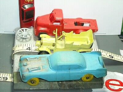 vintage tin metal plastic car part red western truck Lesney Spyker rubber Auburn