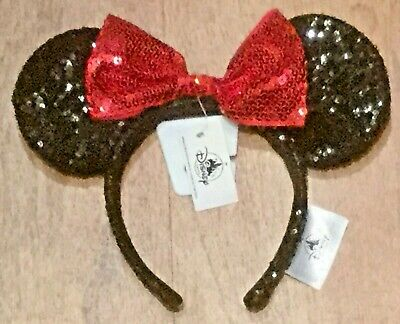 DISNEY Parks Black Red Bow Sequin Minnie Mouse Ears Headband - NWT