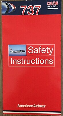 AMERICAN AIRLINES Boeing 737 Safety Card, Good Condition