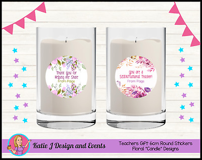 Personalised TEACHERS GIFT CANDLE 6cm Round Stickers Labels Xmas Gifts Present