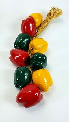 Decorative Ceramic Hanging Hand Painted Peppers on a Rope 9 Peppers