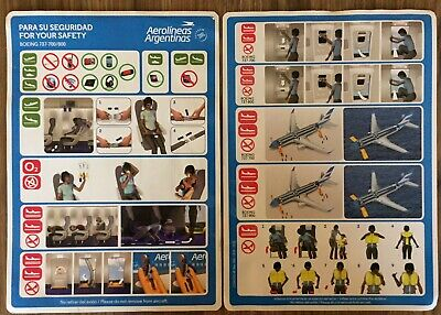 AEROLINEAS ARGENTINAS Boeing 737-700 /800 Safety  Card VERY Rare !
