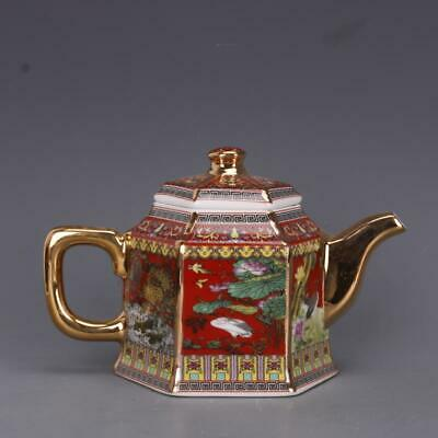 Chinese ancient antique hand make Flower and Bird Teapot a650