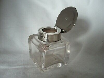 Cut Glass Inkwell & Sterling Silver London 1919