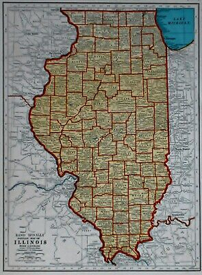 L@@K! Vintage 1942 World War II Atlas Map of Illinois & Indiana WWII War Map OLD