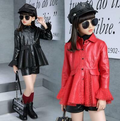 Girls Kids Children PU Leather Trench Coat A-line Lace Long Jackets Outerwear
