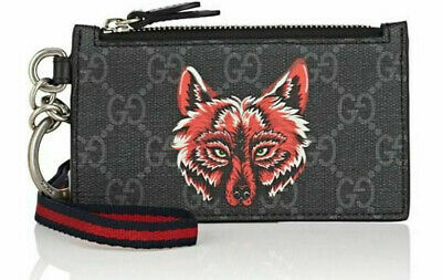 GUCCI Wolf Head Print GG Supreme Lanyard Card Case ~NWT~ 100% Authentic